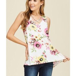 Other - Floral Tank High Low Hem Criss Cross Neck in White